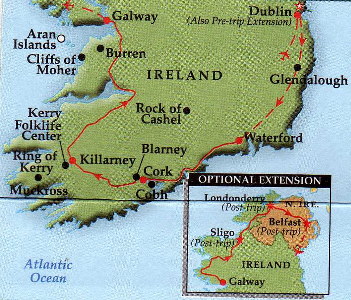 Our Route, but we went by bus from Dublin to Waterford--didn't fly. We also traveled around the Ring of Kerry and the Dingle Peninsula, which is north of the Ring of Kerry