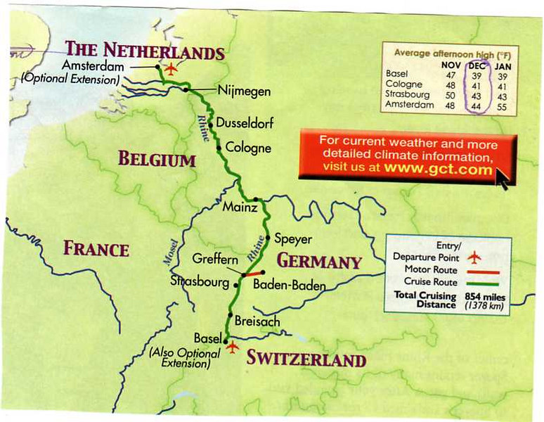 This map shows the route of our river cruise