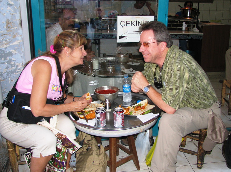 To satisfy our lunch time hunger pains Pam and I discovered Turkish Kababs at a unique sidewalk restaurant inside the Spice Market.