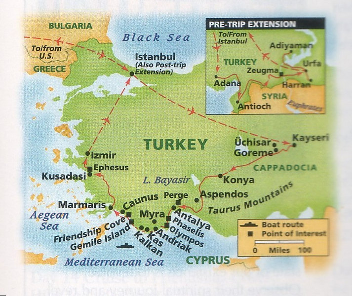 Ever since Pam and I made a short visit to Istanbul in 2000 we have wanted to return to Turkey and explore more of this intriging country with its rich history and culture.  This great itinerary from Overseas Adventure Travel was ideal to meet our desires to see and experience Turkey.