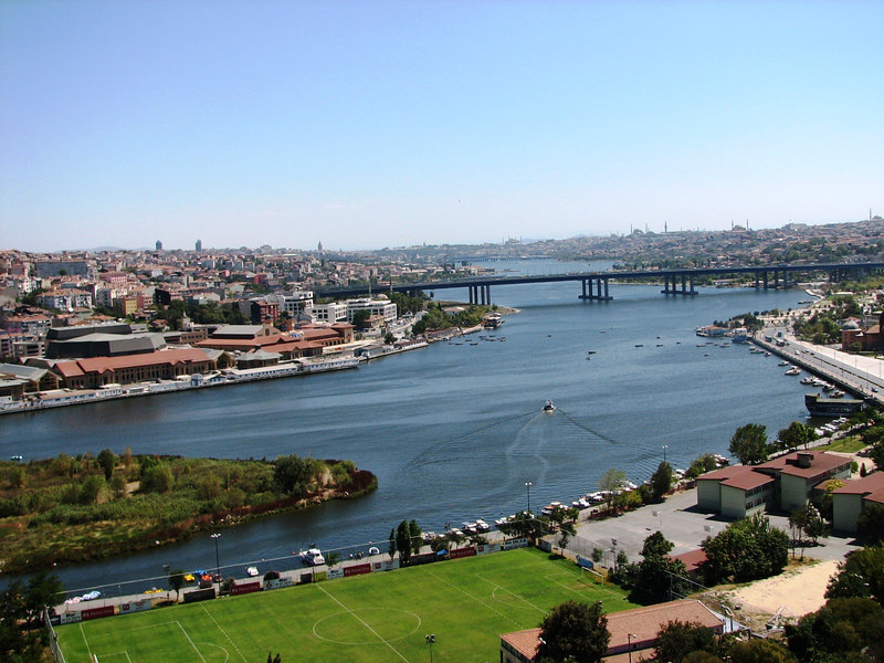 High above the city we get this beautiful view of the waterway known as the Golden Horn.