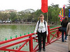 A walk across the bright red Rising Sun Bridge will lead you to the island in the middle of of the lake where you will find the old Ngoc Son Temple.
