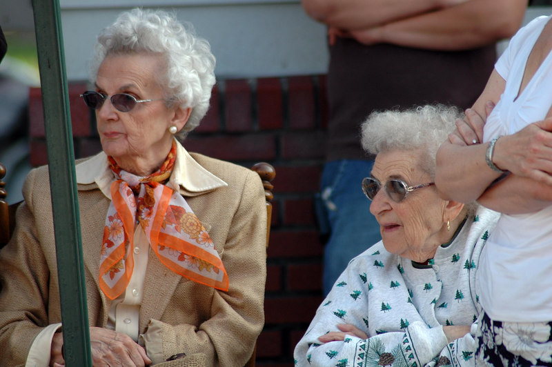 Elenor and Yolanda watching from the sidelines.