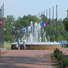 Fountain and state flags at Jamestown Settlement