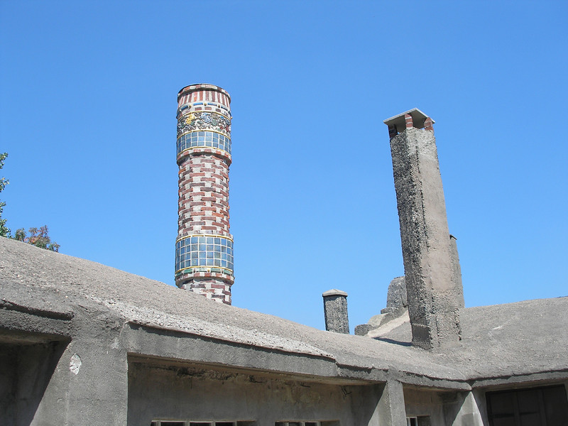 Even the chimney has been adorned with tiles