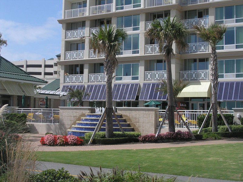 Flowers and fountain at Virginia Beach hotel