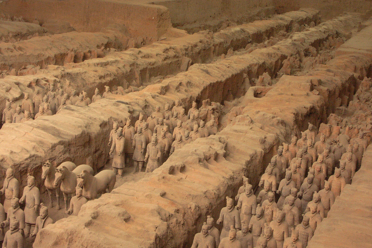 The city of Xi'an (pronounced she-an) is about 750 miles SW of Beijing and was once the capital of China. Today, it is best know for the 1970 discovery of the buried pieces of a Terracotta Army.