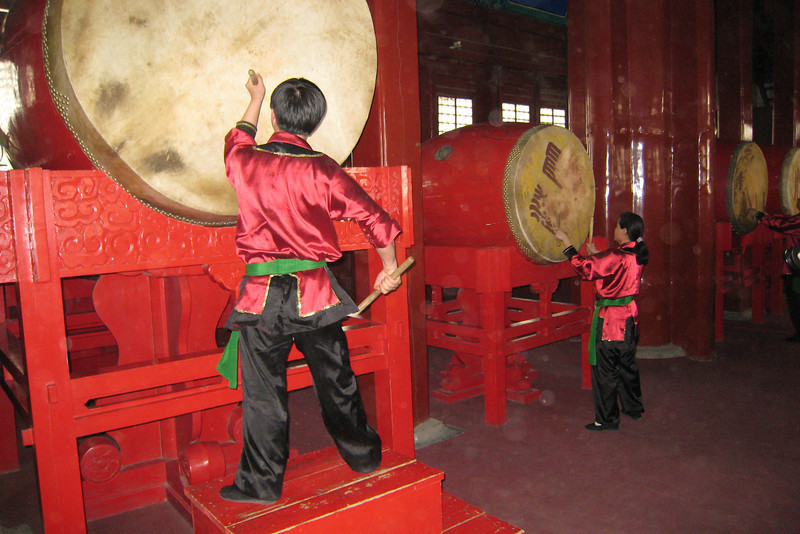 Drummers in the Beijing Drum Tower that mark the time each hour by beating the drums.
