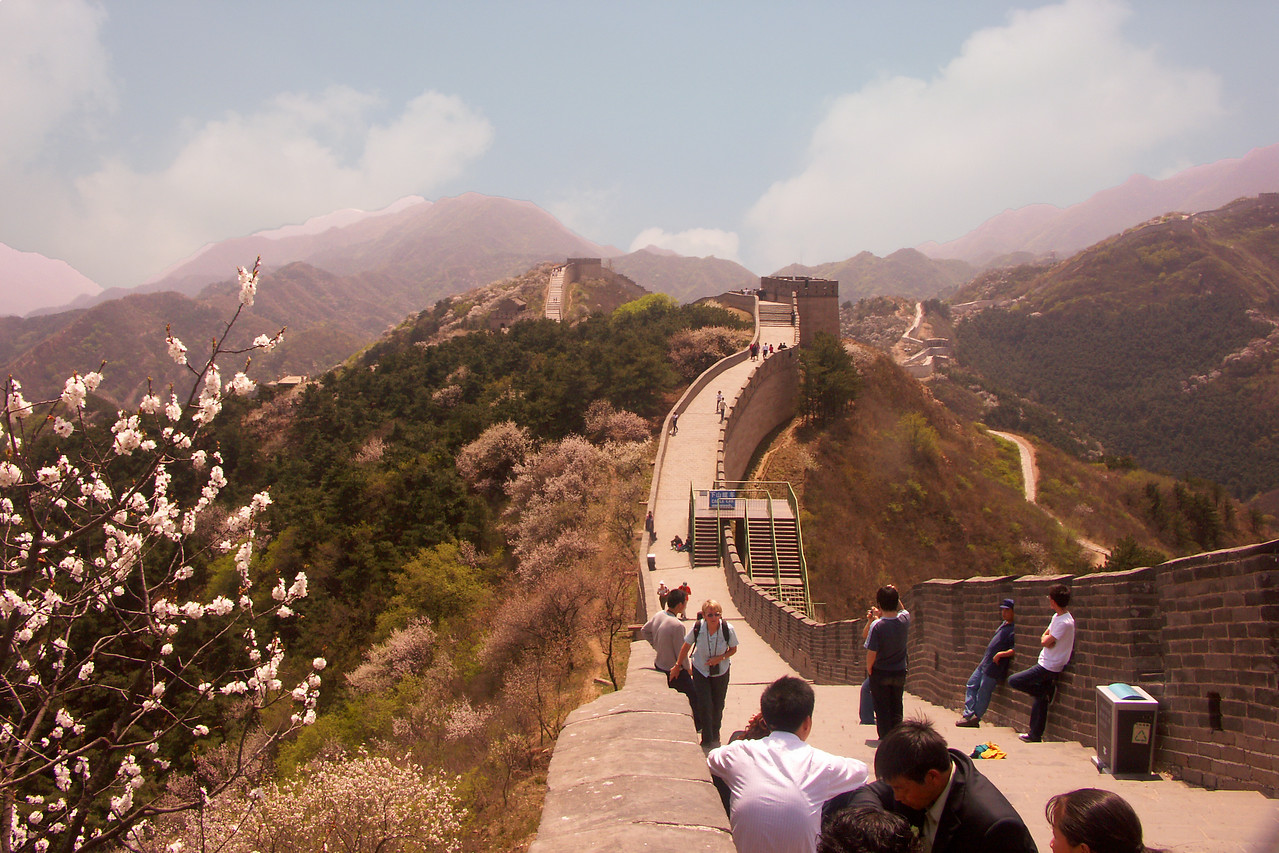 This is the section of the Great Wall we visited. Notice that the wall goes on and on, both to the left and right of the tower near the middle of the photo.