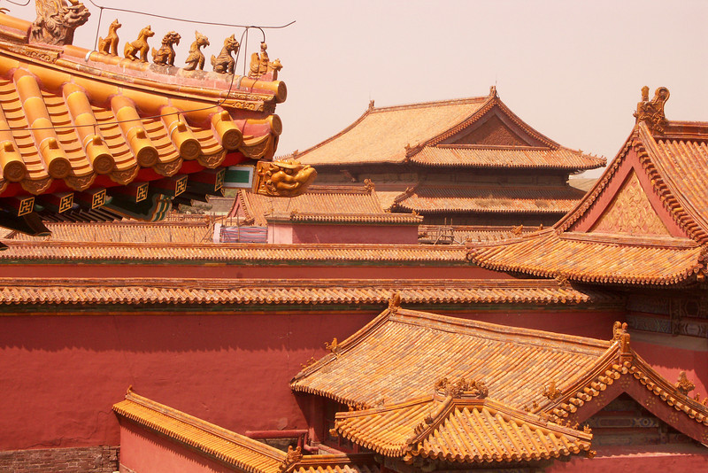 Rooftops in the Forbidden City.