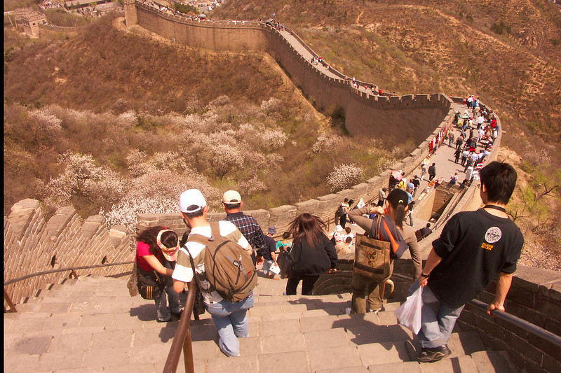 Okay, this is the last photo of the Great Wall I'll show you. It's included to give an idea of the steepness of the steps in some sections. Notice the care people are taking in walking up and down the steps in the foreground.