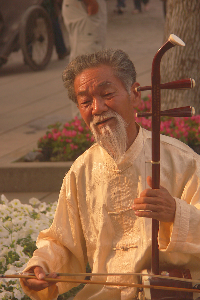 As a place that draws tourists, Tongli offers street venders and entertainers like this musician.