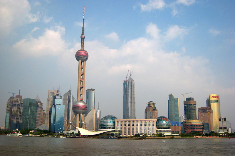 Our last stop in China was the city of Shanghai (pronounced ... oh, you know how to pronounce Shanghai). Although usually quite smoggy, we were blessed on our last day with crystal clear view of the modern building from the Bund - a wide walkway on the opposite side of the river.