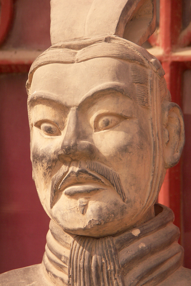 Here is a closer view of the head of a terracotta soldier. Other heads are shown in the next images; one is pretty hidious but the other is kind of cute.