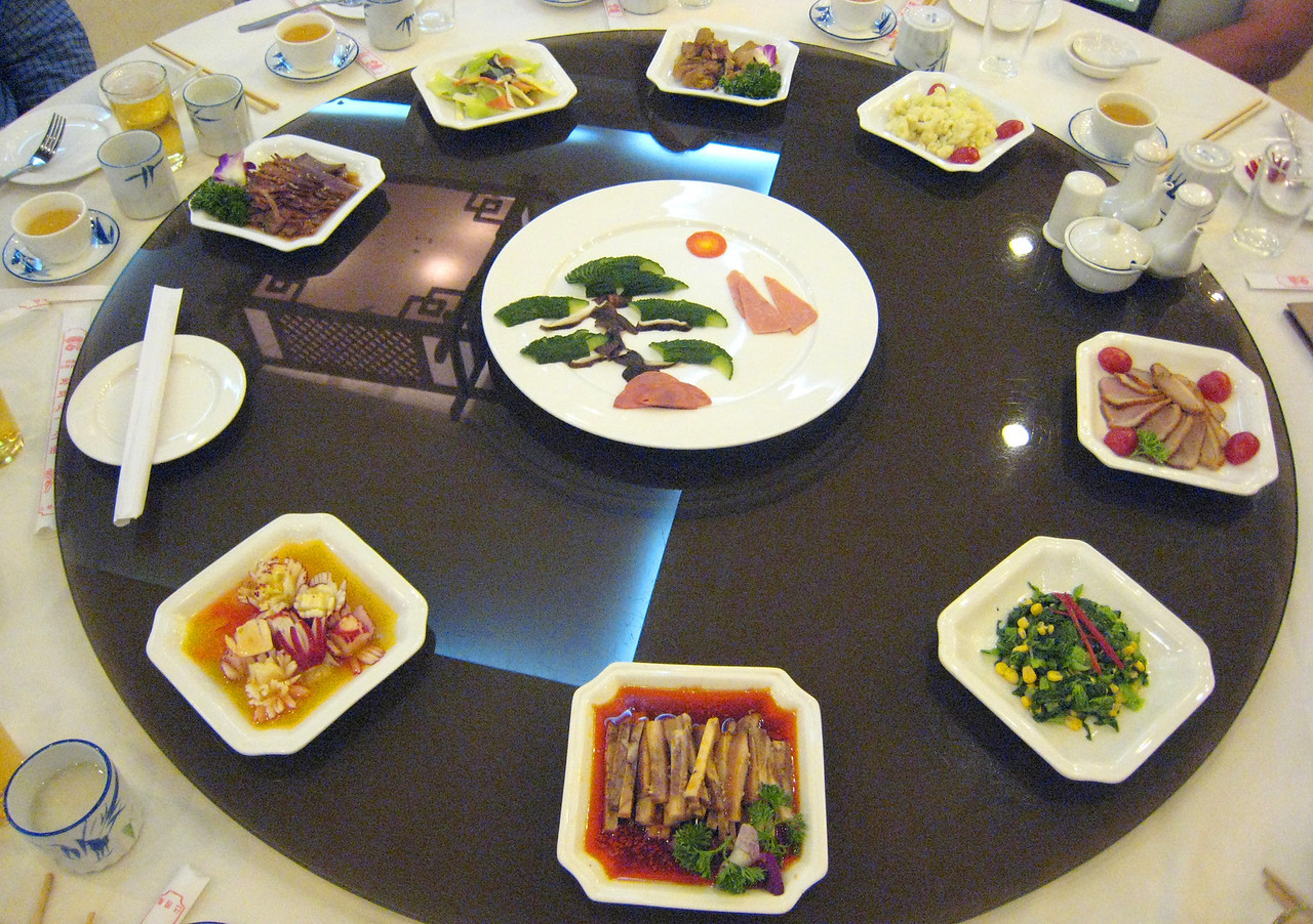 Appetizers for one of the meals enjoyed during our tour. Notice the arrangement of food in the shape of a bonsai tree in the center plate.