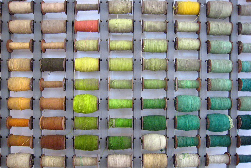 These are the silk threads used in the manufacture of the Chinese rugs.