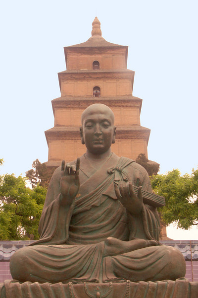 A buddha in front of the Wild Goose Pagoda in Xi'an.