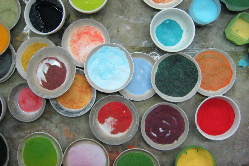 Paint colors used in the making of Chinese vases.
