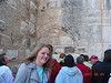 Church of the Nativity in Bethlehem.  Note the different door passages lowered and filled in over time.  The final door we have to duck through.  That was so that soldiers on horseback couldn't ride into the church.  Janelle smiling in front.