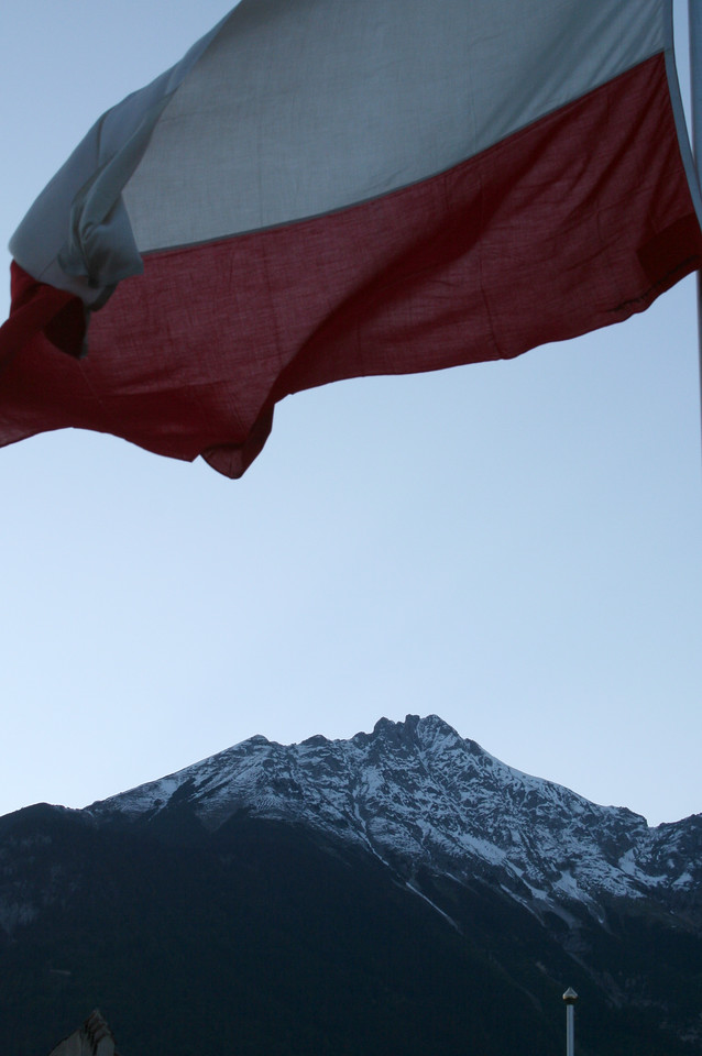 Saturday, May 19, Innsbruck, Austria<br /> Austrian flag on the bridge over the Inn River
