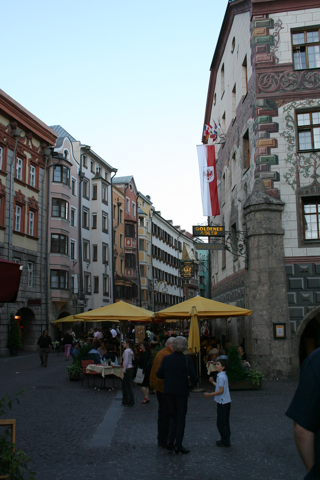Saturday, May 19, Innsbruck, Austria<br /> Herzong-Friedrich Strabe (street), famous tourist spot.  There are lots of shops, museums, and restaurants.  We ate there every night at different places, and had ice cream from the same street vendor each night.