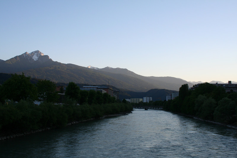 Saturday, May 19, Innsbruck, Austria<br /> The Inn River from the bridge looking toward the University on the left