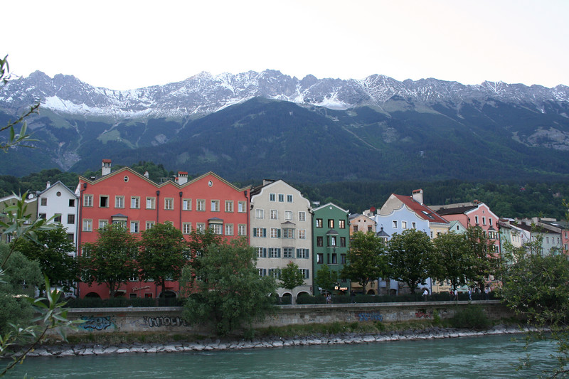 Saturday, May 19, Innsbruck, Austria<br /> The Inn River intersects the town, but the other side doesn't have as many tourist attractions.  There are restaurants, hotels, and the zoo among other things.
