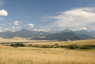 The Absaroka Range. Livingston and Livingston Peak are on the left.