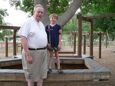 Sam and Grampa in Sacagawea Park in Livingston.