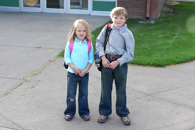 First day of school. Second grade and pre-school.