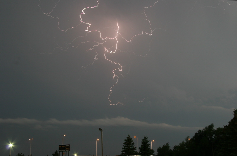 Cloud-to-cloud lightning outside my motel in Kimball, SD.