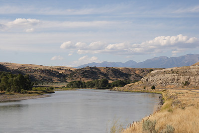 Yellowstone River and Crazy Mountain range East of Livingston.