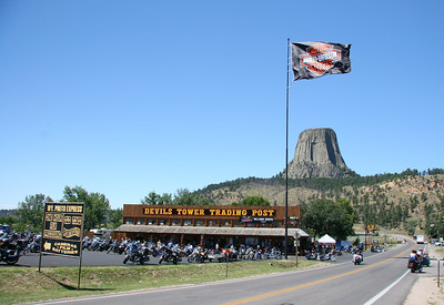 Bikers from Sturgis, SD bike week take over Devil's Tower.