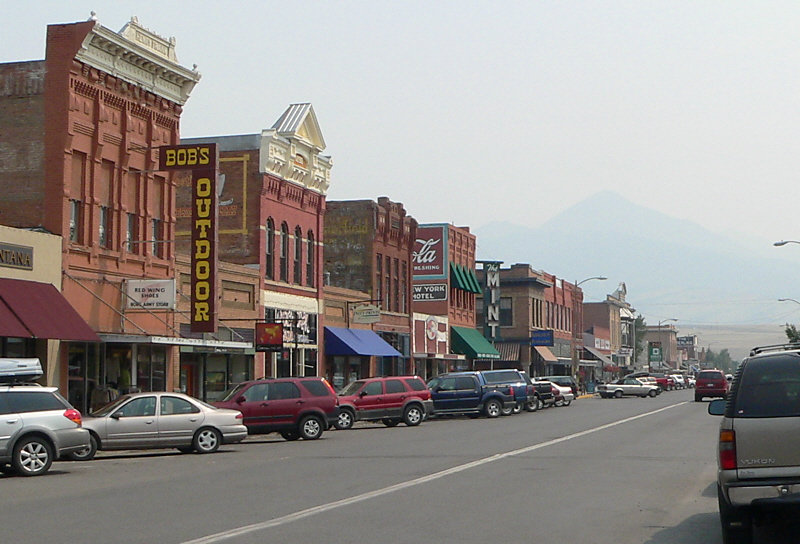 When I arrived in Livingston a smoky haze from the forest fires was hiding  Livingston Peak looking South on Main Street.