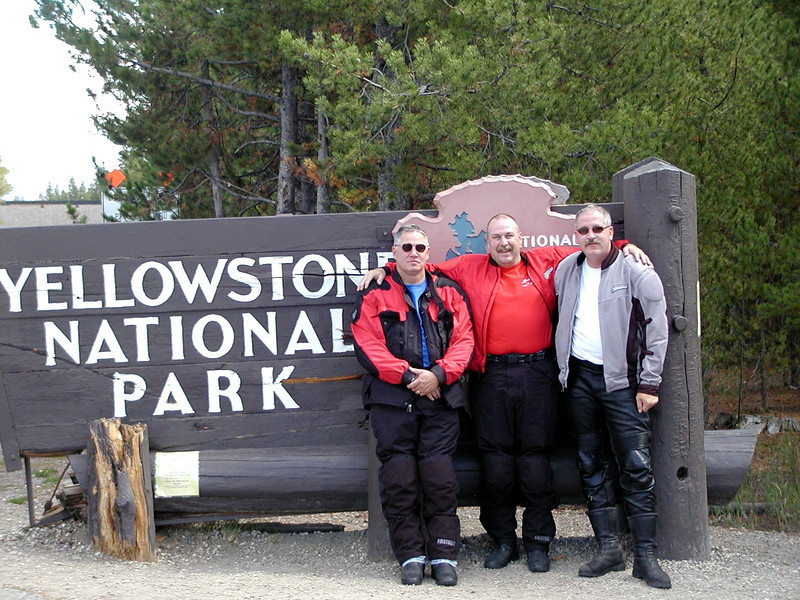 Mark, me and Bob.  West entrance to Yellowstone NP.