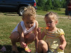 Lauren (Cullen's cousin Jenn's daughter) and Reagan (Cullen's niece) blowing bubbles to pass the time while the adults shoot skeet.