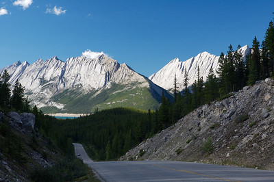 Canadian Rockies from the road near Medicine Lake