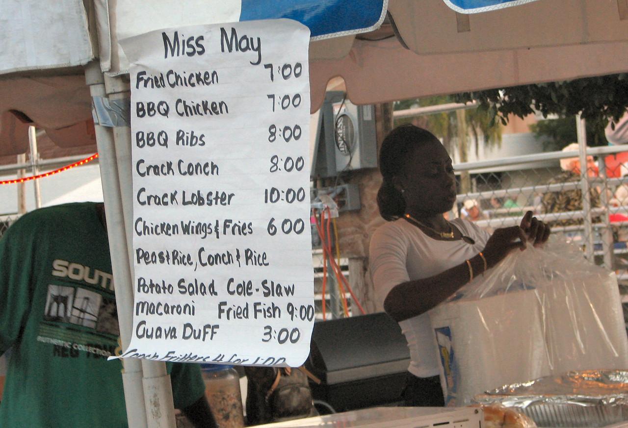 In the New Year's Day parade.  This is a sample menu of the local offerings.  <br /> <br /> En el festival de a~o nuevo.  Este es un ejemplo de los menus de platos ofrecidos.