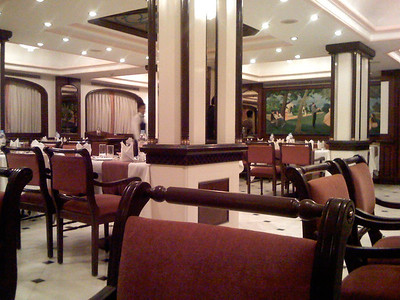 Monday. The restaiurant at the St. Marks hotel is very elegant. India. Bangalore.