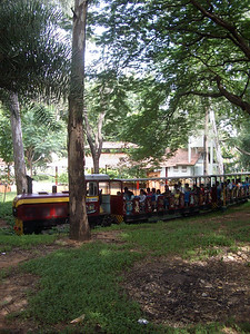 """Inside Cubbin Park was the """"Children's Museum"""", which appeared to be a large outdoor facility with playgrounds, some fair-like rides, and this fun little train.  Being Saturday, we saw lots of families out to enjoy the park. India. Bangalore."""