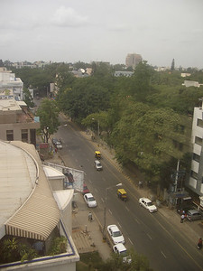 We have a corner suite on the top floor of the St. Marks hotel.  We have a good, if unremarkable, view up St. Marks street. India. Bangalore.