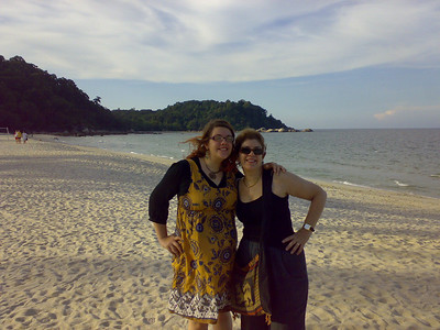 Ruth and Barbara on te beach at the Hyatt Resort, Kuantan, the day we landed after our flights from London