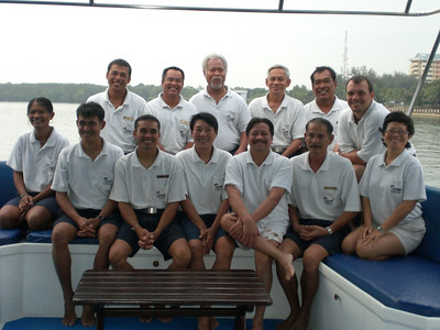 Group shot of the Ocean Rover's terrific boat crew and dive crew