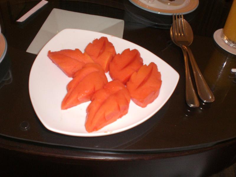 Early morning breakfast at Kota Kinabalu - papaya had been ordered!