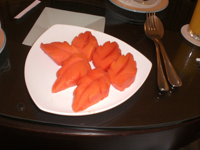 Early morning breakfast at Kota Kinabalu - papaya had been ordered!