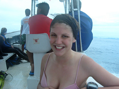 Amelia on the same boat after the same two dives at Sipadan - topping up her tan ?