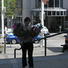 Flowers for movie scene being shot in downtown Vancouver