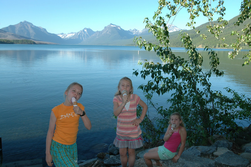 Lake McDonald where we camped at Glacier.  The kids enjoyed ice cream and skipped stones each night.  It was a beautiful spot.