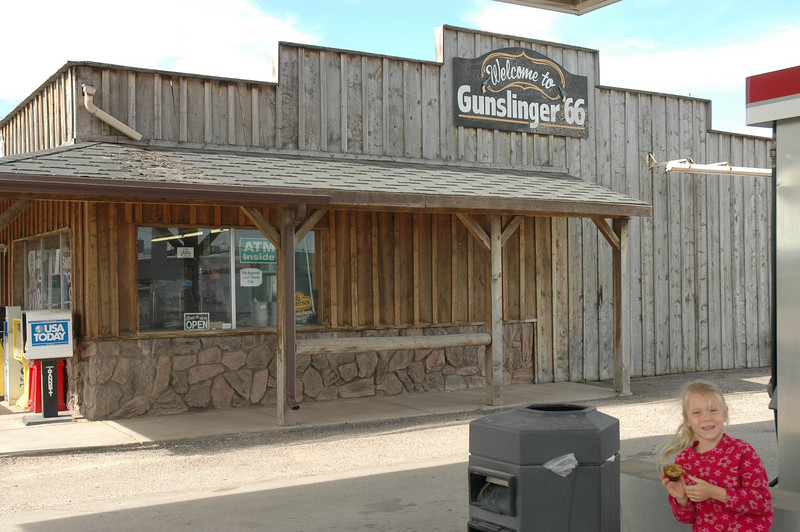 """Here's Jessie at the same gas station - it was a Phillips 66, but it was called """"Gunslinger 66"""".  :)"""