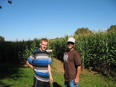 Ross and Troy beginning the maze at Cervelli Farm in Rochester!